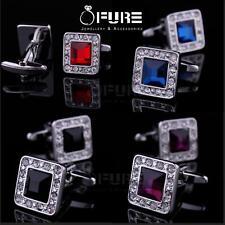 Luxury Men's Blue/Red Crystal Cufflinks Wedding Groom's Business Cuff links