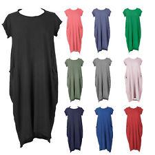 Nuevo Italiano en capas Peculiar Boho Jersey Suave Algodón Elastizado Vestido Túnica De Bolsillo