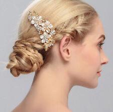 Braut Hochtzeit Haarkamm Haarschmuck Strass Blumen Kristall Gold Weiß Farbe