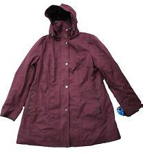 Kristen Blake Women's Water-resistant Rain Detachable Hood Jacket Bordeaux