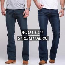 Men's Cowboy Boot Cut Leg Fit Jeans Slim Thigh Stretch Denim Mid Waist Size27-40