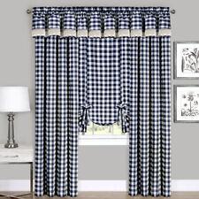 Navy Checkered Plaid Gingham Kitchen Window Curtain Drapes Panel Valance Shade