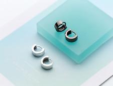 925 Sterling Silver Simple Huggie Hoop Earrings For Men Women A1372