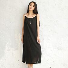Women Cotton Linen Slip Strappy Dress Loose Sleeveless Petticoat Underdress
