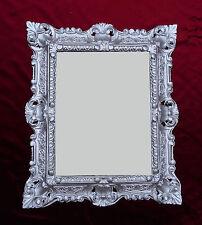 Wall Mirror 45x38cm Antique Baroque Replica Rectangular Silver 345 12