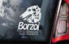 Borzoi on Board - Car Window Sticker - Russian Wolfhound Dog Sign Decal - V01