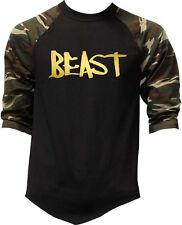 Men's Shiny Gold Beast Camo Baseball Raglan T Shirt Workout Gym Athletic Fit Tee