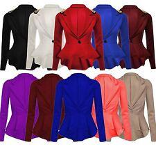 New Ladies Skater Peplum Frill Studs Blazer Slim Fit Shift Jackets 8-24