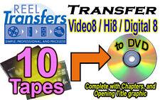 REEL TRANSFERS - Convert Video8/Hi8/Digital8  to DVD    TEN TAPE SPECIAL!