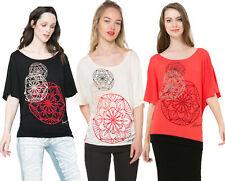 Desigual Red / White / Black Loose Cut Anemona T-Shirt S-L UK 10-14 RRP�44