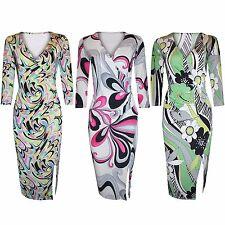 LADIES FLORAL PRINT SLINKY DRESS V NECK SPLIT WOMENS BODYCON SLIT DAY DRESSES
