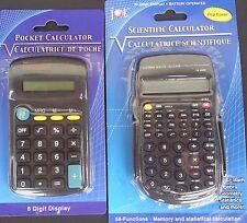 POCKET CALCULATORS Home, School Office Calculator, SELECT: Basic or Scientific