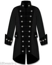 Mens Black Velvet Trim Steampunk Vampire Goth Jacket Pirate Coat