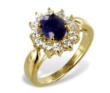 GOLD DOUBLE *** Ring mit Saphir und 12 Zirkonia, Größenauswahl