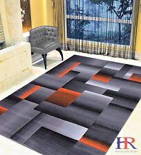 Electric Orange/Grey/Silver/Black/Abstract Area Rug Modern Contemporary Design
