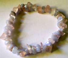 Rose quartz & Bleu Dentelle Agate cristal de guérison bracelet perles PHC