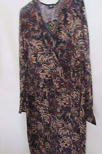 Club L Plus Size Midi Dress Wrap Front In Autumnal Paisley  28   Brown/Black