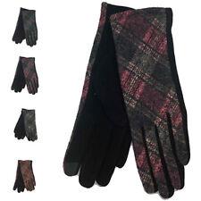 Women Winter Warm Fashion Wrist Gloves Thermal Lined Tartan Touch Screen UK