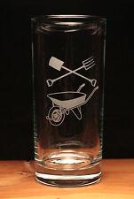 Gardening Wheelbarrow Tools Allotment engraved glass large hi ball gift present