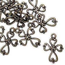Cross Charms Antiqued Brass Fancy Jesus Christian Jewelry Lot of 4