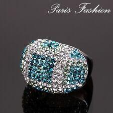 Luxus Ring Strass Paris Damenringe Fingerringe  Versilbert Paris Designer-Ring