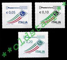 2010 Posta Italiana Prioritaria euro 0,05 0,10 0,20 singoli, quartine e fogli **
