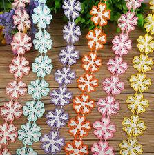2 Yards Blumen Lace Hochzeitskleid Crafts Stickerei Applique Trim Nähen
