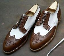 Handmade Men Spectator shoes Men two tone shoes Men wing tip brogue formal shoes