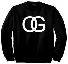 Kings Of NY OG Original Gangsta Gangster Printed Crewneck Sweatshirt Black Grey