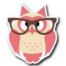 2 x Geek Owl Glasses Pink Vinyl Sticker Laptop Travel Luggage #4024