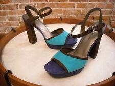 Bandolino Organzi Brown & Blue Suede Platform Sandals NEW