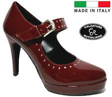 SCARPE DONNA MADE IN ITALY DECOLTE' DECOLLETE LEGANTI TACCO ALTO  VERNICE 135