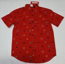 Marvel Comics Deadpool Button Front Dress Mens Shirt Red S M L XL 2XL 3XL