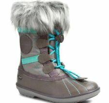 New Clarks Fab Jump GTX Girls Grey Leather Snow Boots Size UK 7 1/2F, 8 1/2F,9F