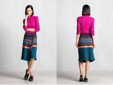 IVKO laine jupe bleu-marron Bleu Marron Géométrique Motif 72628 plissée