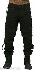 New Dead Threads Black Men Trousers Cotton Black Straps Punk Emo Rock