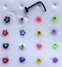 HEART / STAR Nose Studs Screw Twisted L Bar Gem Crystal piercing Ring UV Acrylic