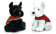 Keel Toys 25cm Scotland Scottie Westie Dog With Tartan Coat