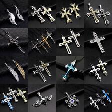 Men Women Stainless Steel Necklace Lots Style Cross Skull Head Pendant Chain