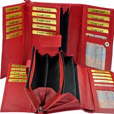 Damen Geldbörse 28 Fächer feines Rindleder Geldbeutel Portemonnaie Geldtasche