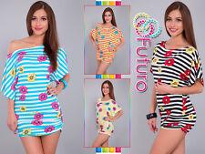 Women's casual tunique à rayures imprimé floral fête t-shirt chauve-souris taille 8-12 5059