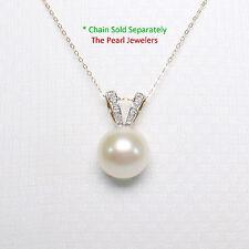 14k Yellow Gold Diamonds Rabbit-Ear Bail AAA  White Cultured Pearl Pendant TPJ
