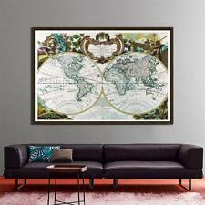 Retro World Map Hemispheres Large Poster Prints Wall Backdrop Decoration