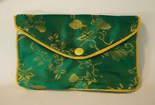 "1 Lg 3.5x5.5"" Green w/gold Flowers Chinese Fabric Jewelry Charm Zipper Gift Bag"