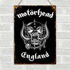 MOTORHEAD ENGLAND Vintage Retro Style Metal Tin Wall Sign Plaque Man Cave Rock