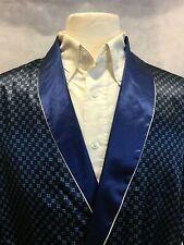 Mens Silk Satin Robe - Navy Royal Blue Checker White Piping