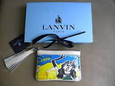 LANVIN CANVAS LEATHER TRIM ISLAND OF DREAMS BAG CLUTCH