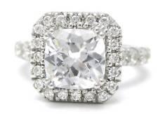 3.55CTW CUSHION CUT MOISSANITE & DIAMONDS ENGAGEMENT RING 8MM CENTER