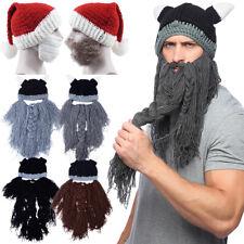 7626778d56e Badass Viking Beanie Beard Hat Barbarian Men s Warm Knit Horn Funny New  Design
