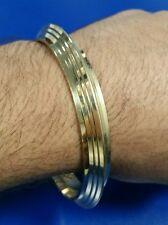 Sikh Singh Lines Pure BRASS 22 Ct Gold Look Khalsa Hindu Healing Chakri Kara B3